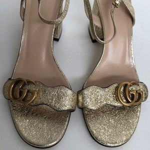 a95b7bf16a4 Gucci Shoes - Gucci Marmont metallic laminate heels sandals 38.5